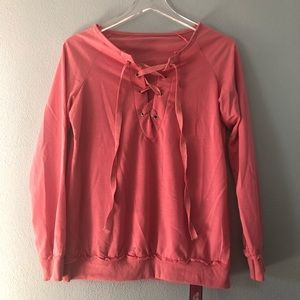 🌸 Boutique | pink sweatshirt with lace up front